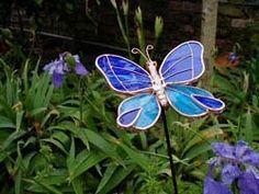 garden ornaments, glass, copper, butterfly - Google Search