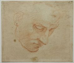 Michelangelo, Head Study for Flood Fresco, Sistine Chapel Michelangelo, Trois Crayons, Figure Drawing, Painting & Drawing, Cave Painting, Juliette Aristides, Drawing Sketches, Art Drawings, Seattle Art Museum