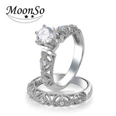 Moonso 925 Sterling Silver Ring Finger anel aneis CZ Stone for Women Jewelry Pure Wedding Engagement wholescale LR1943S #Affiliate