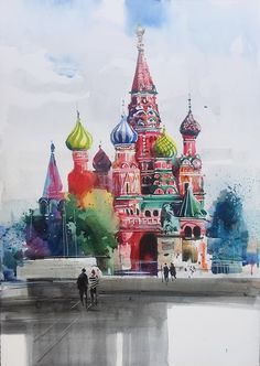 Watercolor City, Watercolor Art Paintings, Painting & Drawing, Watercolor Architecture, Architecture Art, Saint Basile, St Basils Cathedral, Travel Sketchbook, Berlin Art