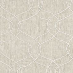 Farou Embroidered Sheer Fabric - A stunning sheer fabric with a large scale ogee trellis design, embroidered in white cotton applique on a pale grey linen ground.