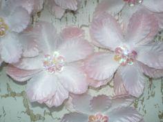 SILK FLOWER APPLIQUES    Set of Six Pale Pink by KeepsakesStudio, $2.00