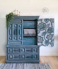 I found this chest in a thrift store and knew with some paint and maybe a pop of wallpaper behind the doors it could be fabulous.