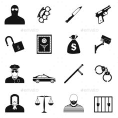 Buy Crime Simple Icons by JuliarStudio on GraphicRiver. Crime simple icons set for web and mobile devices School Icon, Make Money Today, Simple Line Drawings, Drawing Templates, Simple Icon, Music Logo, Religious Icons, Social Media Icons, Pictogram