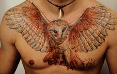 Amazing tattoo art by Dmitriy Samohin (4) - I want something like this on my back with a barred owl.