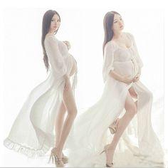 Goedkope Nieuwste Zwangerschap Fotoshoot Strand Jurken Witte chiffon Moederschap…