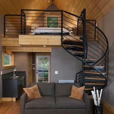 Easy to Build Tiny House Plans! This tiny house design-build video workshop shows how… Tiny House Living, Home And Living, Interior Architecture, Interior Design, Modern Interior, Interior Ideas, Tiny Spaces, Small Loft Apartments, Tiny House Design