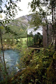 Juvet landskapshotell in north-west Norway by Oslo-based Jensen & Skodvin.