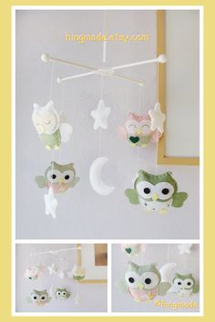 Baby Mobile Owl Nursery Mobile  Soft Pink Sage Green by hingmade, $88.00