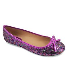 Love this Purple Glitter Bow Flat on #zulily! #zulilyfinds