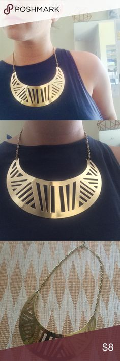 tribal bib gold cutout urban geo street necklace killer statement piece of jewelry right here. gold geometric cutouts on an oversize bib-style, half moon shaped necklace. gold chain and clasp. looks amazing on top of something sleek and simple and also totally fun as a chunky, glam addition to a tshirt & jeans. great condition. super sexy. Jewelry Necklaces