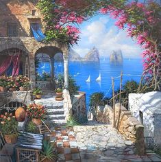 italy clip art black and white Fantasy Landscape, Landscape Art, Landscape Paintings, Beautiful Paintings, Beautiful Landscapes, Paradise Pictures, Pintura Exterior, Italy Painting, Italy Art
