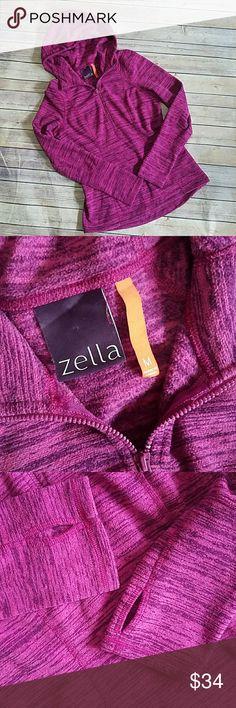 "Zella Half Zip Fleece Hoodie Sweatshirt Excellent pre-loved condition! Features thumb holes. 100% Polyester.   Approximate Measurements  Armpit to Armpit: 19"" Shoulder to Hem: 25"" Zella Tops Sweatshirts & Hoodies"