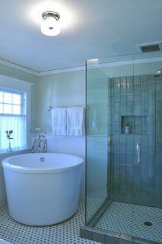 Japanese Soaking Tub Small Bathroom Marble Mosaic Tile Flooring Walk In Shower