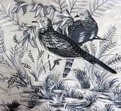 1950's Wild Birds Shades Of Grey Vintage Silk Scarf