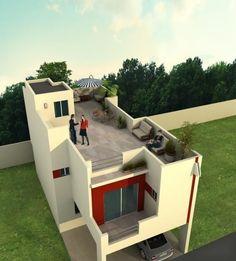 Plano de casa moderna de dos pisos con piscina planos - Terrazas de casas modernas ...