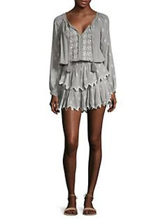 LOVESHACKFANCY - Ruffled Silk Georgette Popover Dress