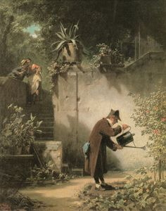 Carl Spitzweg - The Flower Friend 1855 - An der Wand - Kunst Carl Spitzweg, Antoine Bourdelle, Science Art, Illustrations, Art Google, Figurative Art, Painting & Drawing, Cool Art, Contemporary Art