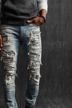 Mens Destroyed Jeans, Ripped Jeans Men, Torn Jeans, American Fighter, Denim Branding, Stretch Jeans, Distressed Jeans, Men's Denim, Destruction