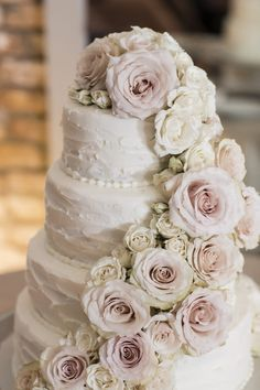 Floral Wedding cake with pink roses and white buttercream - Aislinn Kate Photography #weddings #weddingcake #cake #weddingcakes #wedding #weddingideas #weddinginspiration See more of this glamorous and romantic wedding by clicking on the photo