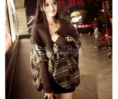 New Western Fashion Women's Vintage Check Cape Poncho Loose Coat Outwear