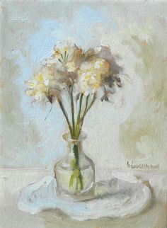"""""""White Flowers in Bottle"""" Original OOAK 'alla prima'* Still-Life oil painting, signed and numbered.  Fresh, simple and poetic, this little painting is perfect in an intimate corner of a sitting room, library, bathroom or kitchen. It also makes a great gift for many occasions: housewarming, birthday, mother's day, father's day, anniversary. https://www.etsy.com/shop/BarraganPaintings"""