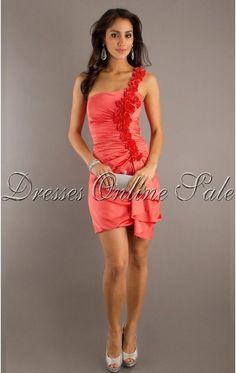 Modest Sheath Short One Shoulder Pink Taffeta Dress