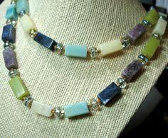 OOAK Gem Stone Rectangle Beads 2-Strand Necklace 24
