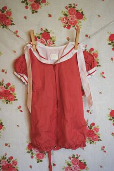 Vintage Baby Romper Red Striped