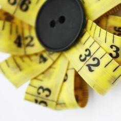 #measuring tape & #button flower, #black-eyed susan