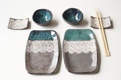 Sushi Serving Set Set for Two Grey Green Sushi Set by bemika