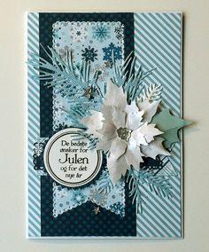 "Christmas poinsettia card - , Memorybox poinsettia, IO pine branch die, Cherry Lynn banners, Echo park ""Hello Winter"" paper pad - julekort - Karte Weihnachten #EchoParkPaper"