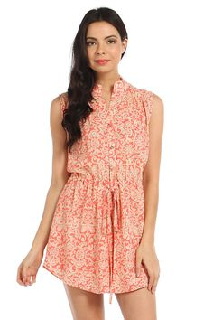 ACQUARD PRINT SLEEVELESS DRESS- Coral