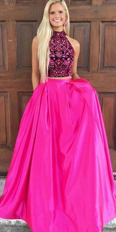 3da80c7fc0df Two Pieces Beaded Top A-Line Satin Open-Back Prom Dress with Pocket
