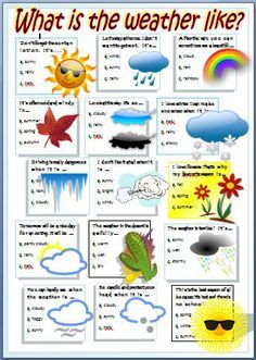 Want to learn about the weather? See if you know the best option and check your answers in the key. Kids English, English Lessons, English Words, Learn English, Seasons Worksheets, Weather Worksheets, Weather Activities, English Worksheets For Kids, English Activities