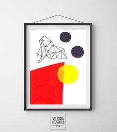 Bright Red and Dark Purple Abstract Geometric Art Print  www.vfitzartist.com.au