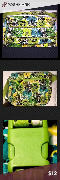 Vera Bradley Green/Blue Floral Messenger Bag🦋 This Vera Bradley is in good condition.  There is a flap closure that snaps closed with clasp.  Clasp has Vera Bradley signature stamp.  Two zip pockets with Vera Bradley signature zipper pulls on exterior of bag, but they remain out-of-sight by the flap.  Small scuff mark in fabric on bottom of bag (shown in pic).   H- 12 inches L- 16 inches D- 4 inches Vera Bradley Bags Satchels