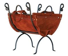 Olde World Iron Log Holder With #Suede #Leather Carrier