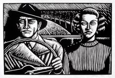"""Night Drivers"", 1996, linocut by Deborah Klein. http://www.deborahklein.net/ Tags: Linocut, Cut, Print, Linoleum, Lino, Carving, Block, Woodcut, Helen Elstone, Australian, Female, Woman, Face, Man, Hat, Trees, Car, Film Noir."