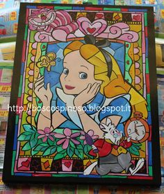 Alice in Wonderland  Disney painting style stained di BoscoSpinoso, €42.00