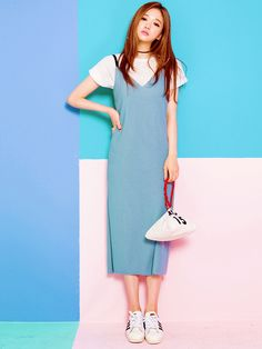 White t shirt + blue overall dress + chocker