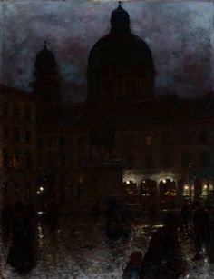 """""""Wittelsbach Square in Munich at Night"""" (1890) by  Aleksander Gierymski (Polish,1850-1901) , oil on canvas; National Museum, Warsaw"""