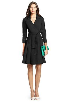 Sewing inspiration: DVF Jadrian Cotton Wrap Dress in in Black/ Gingham Small Black