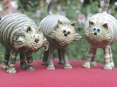 Pottery Cats   hand-made pottery from Muggins Pottery in Leicestershire - wedding gifts, birthday presents, christening presents and anniversary gifts.