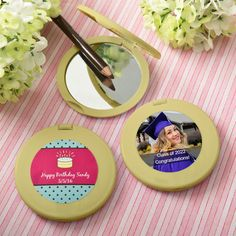Personalized Gold Compact Mirror Birthday Party Favors- Delight the ladies with these fabulous compact mirrors when they join you to celebrate your birthday! They are on trend, fun and fashionable and perfect to show off! Our mirrors are crafted with Adult Birthday Party, It's Your Birthday, Birthday Celebration, Graduation Party Favors, Birthday Party Favors, Birthday Design, Personalized Favors, Compact Mirror, Time To Celebrate