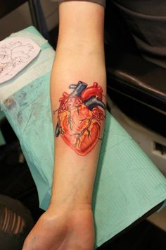 Medical heart tattoo by Sarah #tattoos