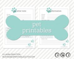 Pet Printables  Pet Information and Pet by busybabesprintables