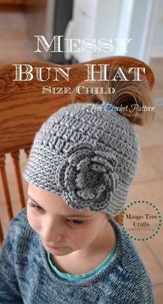 """Messy Bun Hat Crochet Pattern Materials used: ⦁ Hair tie about 2"""" in diameter ⦁ Worsted weight yarn (I used Bernat Wool-Up Wo..."""
