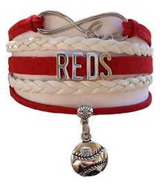 Cincinnati Reds MLB Red & White Infinity Braided Leather…