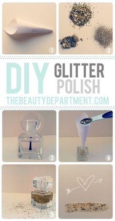 DO IT YOURSELF: gold glitter nail polish #mani #manimonday #nailart #DIY
